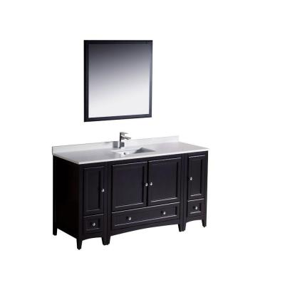 Fresca Oxford 60 in. Vanity in Espresso with Ceramic Vanity Top in White and Mirror