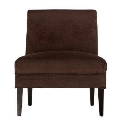 Home Decorators Collection Beale Solid Velvet Brown 27 in. W Slipper Chair-DISCONTINUED