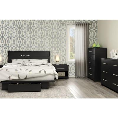 South Shore Primo 1-Drawer Pure Black Nightstand