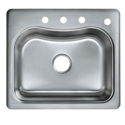 Staccato Top-Mount Stainless Steel 25 in. 4-Hole Single Bowl Kitchen Sink