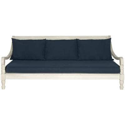 Pasadena Antique White Patio Bench with Navy Cushions