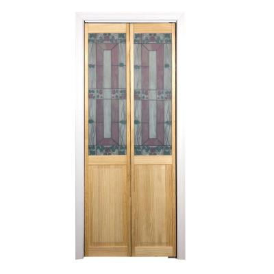 Pinecroft 36 in. x 80 in. Glass Over Panel Sonoma Wood Universal/Reversible Interior Bi-fold Door
