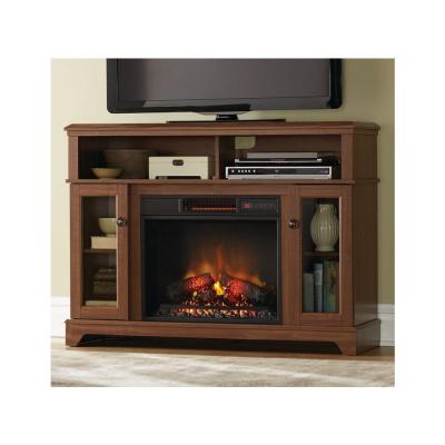Home Decorators Collection Ravensdale 48 In Media Console Electric Fireplace In Faded Cherry