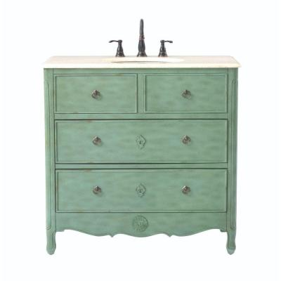 Home decorators collection keys 36 in w vanity in distressed aqua marine with marble vanity top Home decorators collection 36 vanity