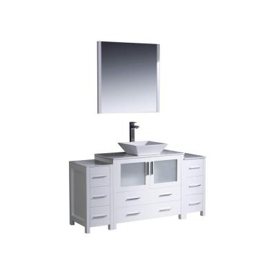 Fresca Torino 60 in. Vanity in White with Glass Stone Vanity Top in White with White Basin and Mirror