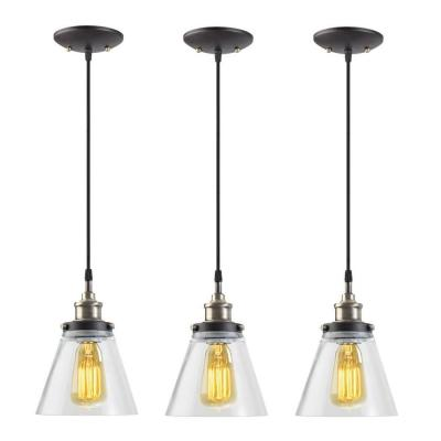 1-Light Black Vintage Edison Hanging Glass Pendant with Antique Brass and Black Cord (Pack of 3) Product Photo