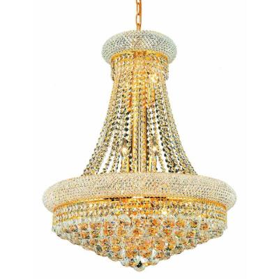 14-Light Gold Wall Sconce with Clear Crystal Product Photo