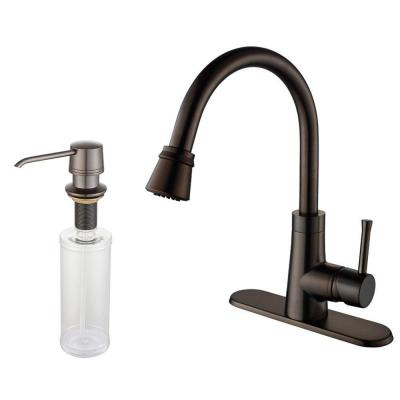 KRAUS Single-Handle Mid-Arc Pull-Out Sprayer Kitchen Faucet and Dispenser in Oil Rubbed Bronze