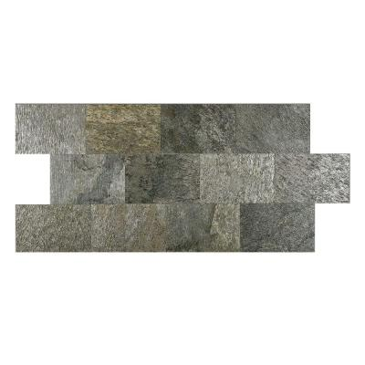 Silver Shine 6 in. x 9 in. Slate Peel and Stick Wall Tile (4.5 sq. ft. / pack) Product Photo