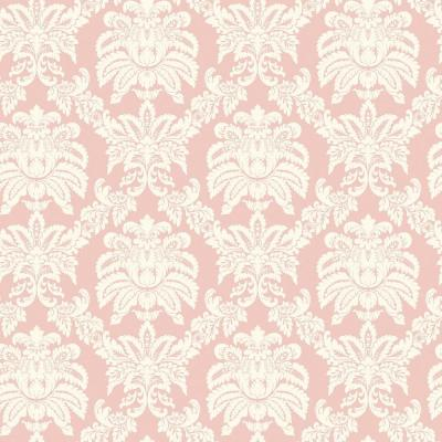 The Wallpaper Company 8 in. x 10 in. Pink Pastel Sweeping Damask Wallpaper Sample