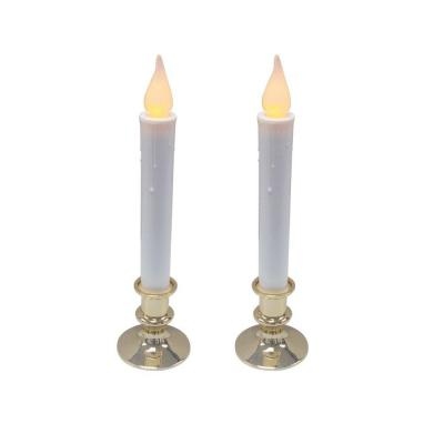 Home Accents Holiday Battery Operated Flickering LED Candle with Timer - Gold Base (Set of 2)