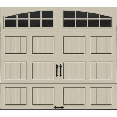 Clopay Gallery Collection 8 ft. x 7 ft. 6.5 R-Value Insulated Desert Tan Garage Door with Arch Window