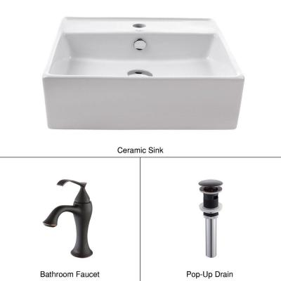 Square Ceramic Sink in White with Ventus Basin Faucet in Oil Rubbed Bronze Product Photo
