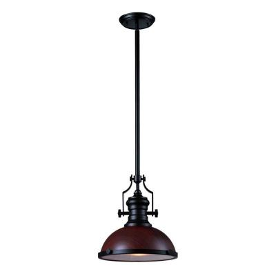 Titan Lighting 1-light Ceiling Mount Dark Walnut and Oiled Bronze Pendant-DISCONTINUED