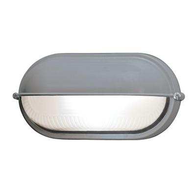 Access Lighting Nauticus 1-Light Outdoor Satin Bulkhead Light with Frosted Glass Shade