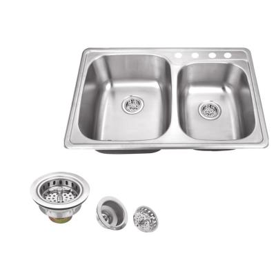 IPT Sink Company Drop-in 33 in. 4-Hole Stainless Steel Double Basin Kitchen Sink in Brushed Stainless