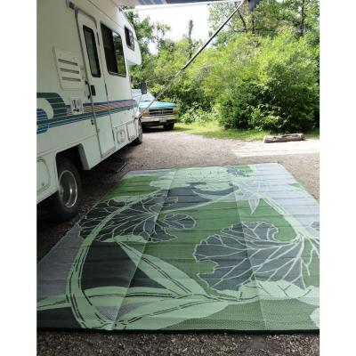 Blossom Green/Grey 9 ft. x 12 ft. Designer Outdoor RV/Camping/Patio Reversible
