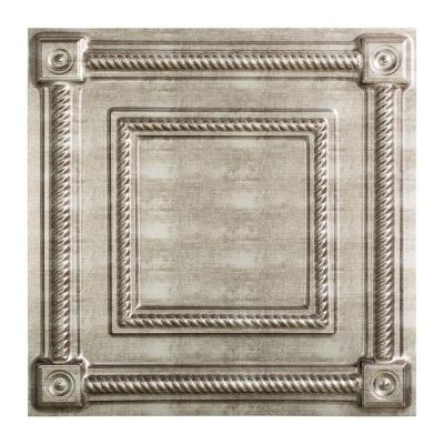 Fasade Coffer - 2 ft. x 2 ft. Lay-in Ceiling Tile in Crosshatch Silver