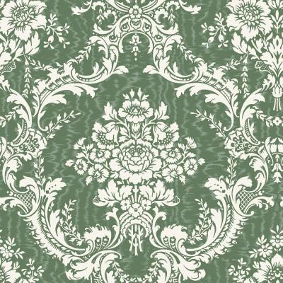 The Wallpaper Company 56 sq. ft. Green Mid Scale Damask on Moire Background Wallpaper
