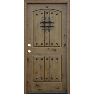 36 in. x 80 in. Rustic Arched 2-Panel V-Groove Stained Knotty Alder Wood Prehung Front Door Product Photo