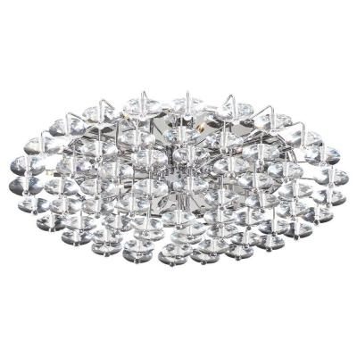 18-Light Polished Chrome Ceiling Semi-Flush Mount Light with Clear Glass