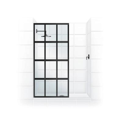Gridscape Series V1 36 in. x 76 in. Divided Light Shower Screen in Oil Rubbed Bronze and Clear Glass Product Photo