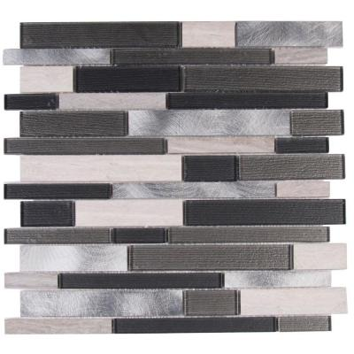 Urban Loft Interlocking 12 in. x 12 in. x 4 mm Glass Stone Metal Mesh-Mounted Mosaic Tile (20 sq. ft. / case) Product Photo