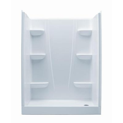 A2 30 in. x 60 in. x 76 in. 4-Piece Shower Stall in White Product Photo