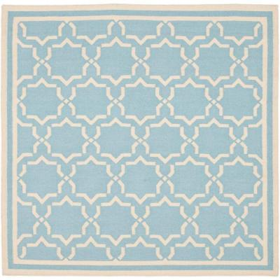 Dhurries Light Blue/Ivory 8 ft. x 8 ft. Square Area Rug
