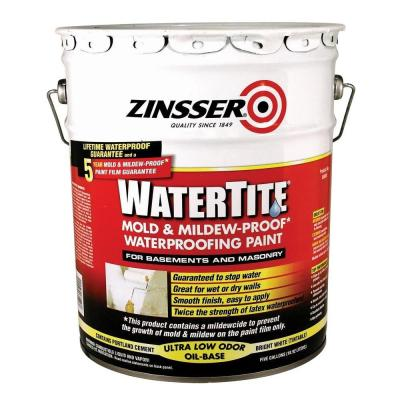 Zinsser 5 Gal Watertite Mold And Mildew Proof White Oil Based Waterproofing Paint 5000 The