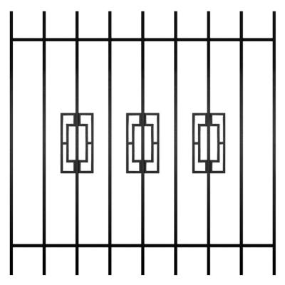 Unique Home Designs Modern Trifecta 48 in. x 48 in. Black 9-Bar Window Guard-DISCONTINUED
