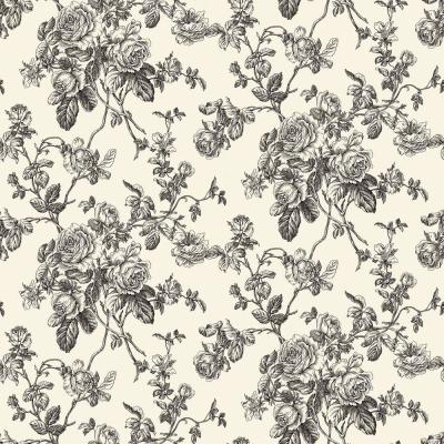 8 in. x 10 in. Black and White Lacey Rose Toile Wallpaper Sample Product Photo