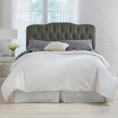 Velvet Pewter Queen Tufted Headboard