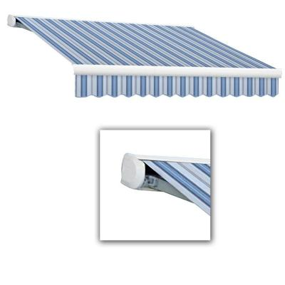 24 ft. Key West Full-Cassette Right Motor Retractable Awning with Remote (120 in. Projection) in Blue Multi Product Photo