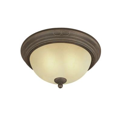 2-Light Ceiling Fixture Ebony Bronze Interior Flush-Mount with Aged Alabaster