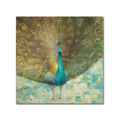 "18 in. x 18 in. ""Teal Peacock on Gold"" by Danhui"