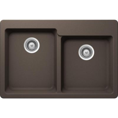 ALIVE Top Mount Composite 33 in. 0-Hole 60/40 Double Bowl Kitchen