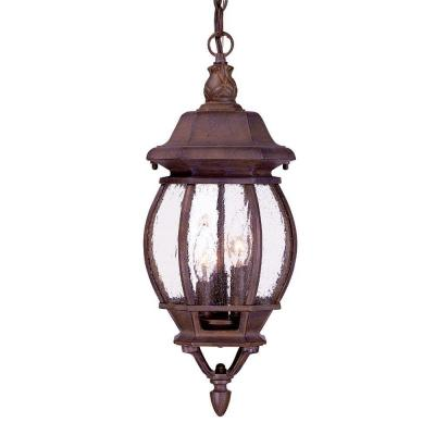 Acclaim Lighting Chateau Collection 3-Light Burled Walnut Outdoor Hanging Lantern Light Fixture
