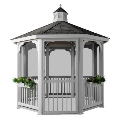 HomePlace Structures 10 ft. Octagon Vinyl Gazebo with Screens No Floor