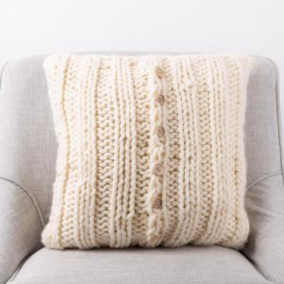 18 in. L x 18 in. W Handmade Acrylic Cable Knit Pillow Cover