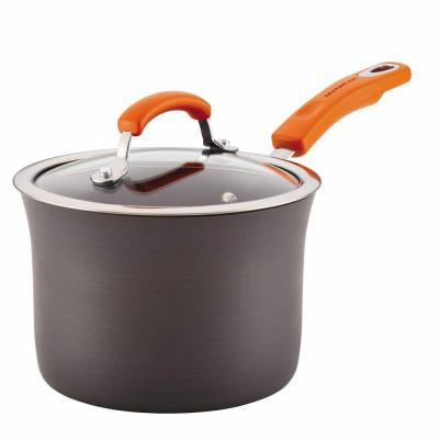 Hard-Anodized Aluminum Nonstick 3 qt. Covered Saucepan in Gray with Orange
