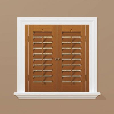 Plantation Faux Wood Oak Interior Shutter (Price Varies by Size)