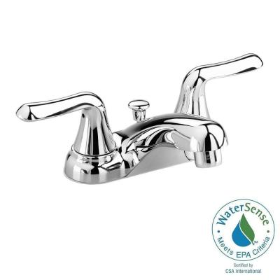 american standard colony soft 4 in centerset 2 handle low arc bathroom faucet in polished chrome