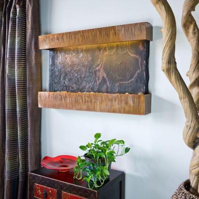 Water Wonders Wall Mounted Horizon Falls Slate Panel Water Feature with Copper Patina Frame (Includes LED Lights)