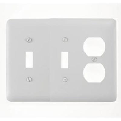 Amerelle Steel 2 Toggle 1 Duplex Wall Plate - White