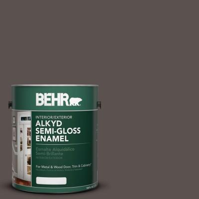 1-gal. #AE-24 Barn Brown Semi-Gloss Enamel Alkyd Interior/Exterior Paint