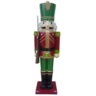 null 3 ft. Metallic Nutcracker Solider with Staff