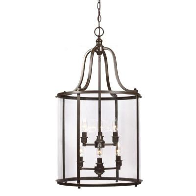 Sea Gull Lighting Gillmore 6-Light Heirloom Bronze Hall/Foyer Lantern with Clear Glass