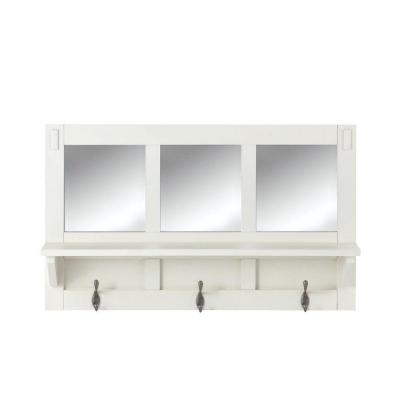 Artisan 18 in. H 3-Hook MDF Wall Shelf with Mirror in White Product Photo