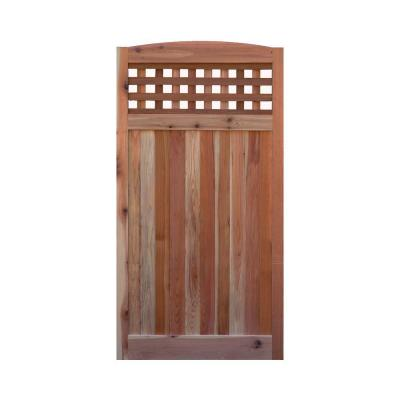 3 ft. W x 6 ft. H Western Red Cedar Arch Top Checker Lattice Fence Gate Product Photo